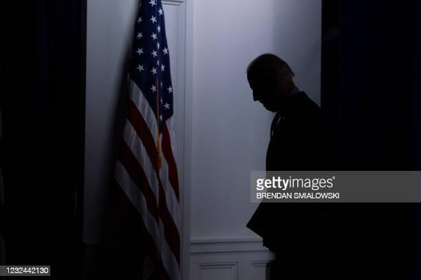 President Joe Biden leave after speaking about Covid-19 vaccinations from the White House campus on April 21 in Washington, DC. - President Biden...