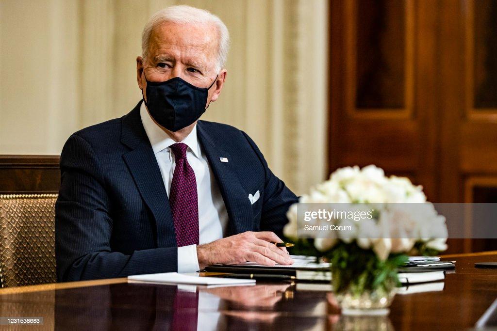 President Biden Participates In Roundtable Discussion On The American Rescue Plan : News Photo