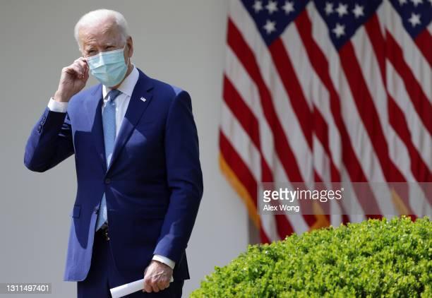 President Joe Biden listens during an event on gun control in the Rose Garden at the White House April 8, 2021 in Washington, DC. Biden will sign...