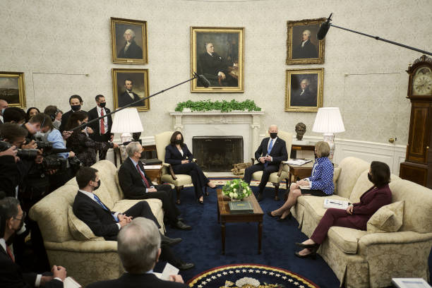DC: President Biden And Cabinet Members Meet With Group Of Senators In The Oval Office