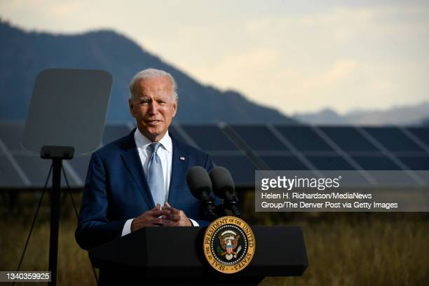 President Joe Biden makes remarks during a press conference on the grounds of National Renewable Energy Laboratory on September 14, 2021 in Arvada,...