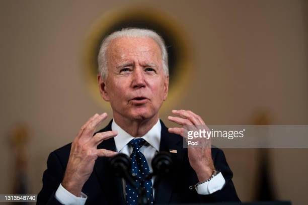 President Joe Biden makes remarks in response to the verdict in the murder trial of former Minneapolis police officer Derek Chauvin at the Cross Hall...