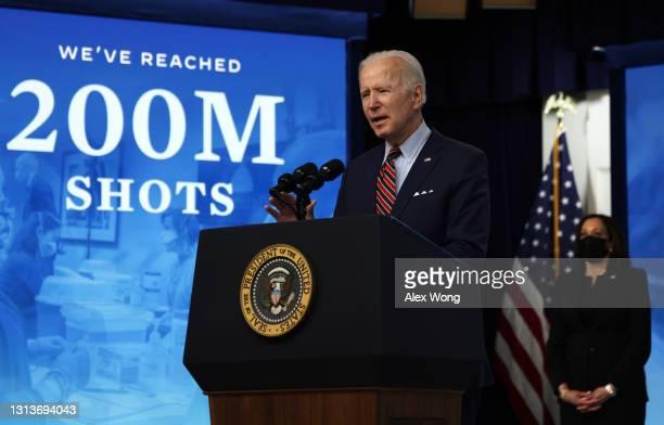 President Joe Biden makes remarks in response to the verdict in the murder trial of ex-police officer Derek Chauvin as Vice President Kamala Harris...