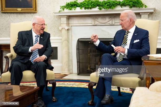 President Joe Biden meets with Israeli President Reuven Rivlin in the Oval Office June 28, 2021 in Washington, DC. Biden and Rivlin were expected to...