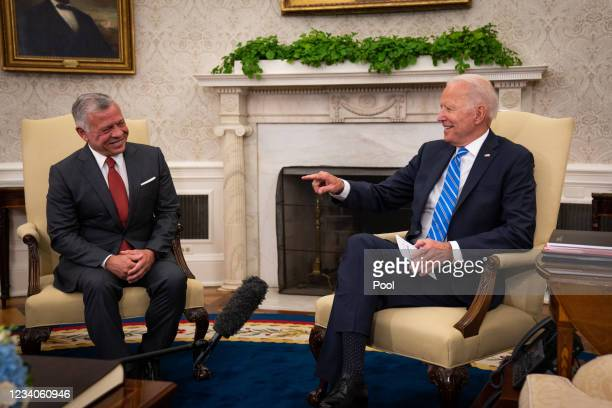 President Joe Biden meets with King Abdullah II of Jordan in the Oval Office of the White House on July 19, 2021 in Washington, DC.