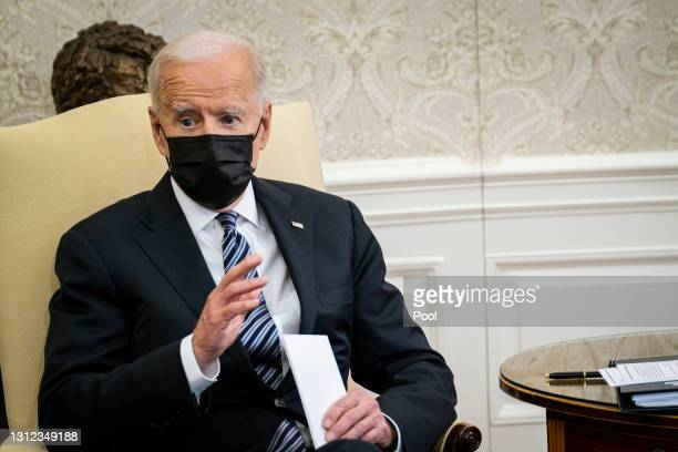 President Joe Biden meets with members of the Congressional Black Caucus in the Oval Office at the White House on April 13, 2021 in Washington, DC....