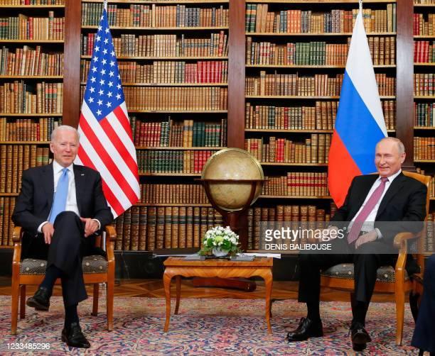 President Joe Biden meets with Russian President Valdimir Putin at the 'Villa la Grange' in Geneva on June 16, 2021.