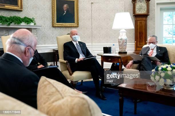 President Joe Biden meets with Sen. Patrick Leahy , Senate Majority Leader Charles Schumer and other Democratic senators to discuss his $1.9 trillion...