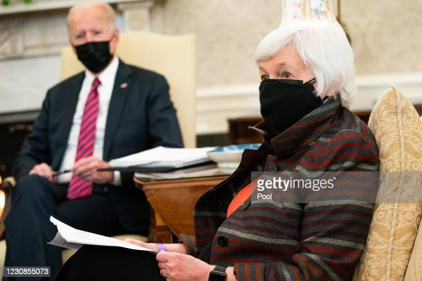 President Joe Biden meets with Treasury Secretary Janet Yellen in the Oval Office of the White House on January 29, 2021 in Washington, DC. Biden and...
