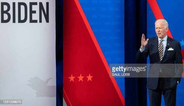 President Joe Biden participates in a CNN town hall at the Pabst Theater in Milwaukee, Wisconsin, February 16, 2021.