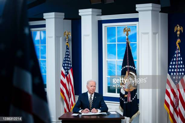 President Joe Biden participates in a conference call on climate change with the Major Economies Forum on Energy and Climate in the South Court...