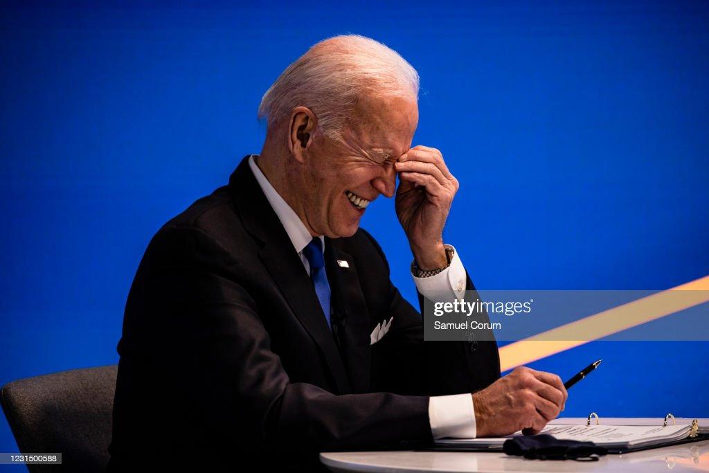 President Biden Participates In Virtual Event With House Democratic Caucus : News Photo