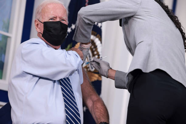 DC: President Biden Receives Covid-19 Booster Shot At The White House