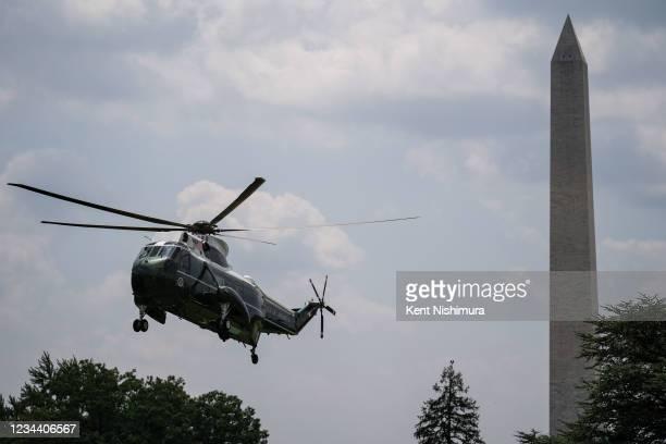 President Joe Biden returns to the White House from Camp David on August 02, 2021 in Washington, DC.
