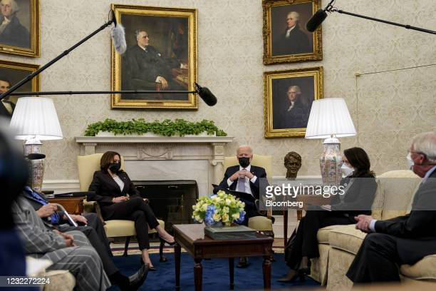 President Joe Biden, right, speaks during a meeting with U.S Vice President Kamala Harris and a bipartisan group of members of Congress in the Oval...