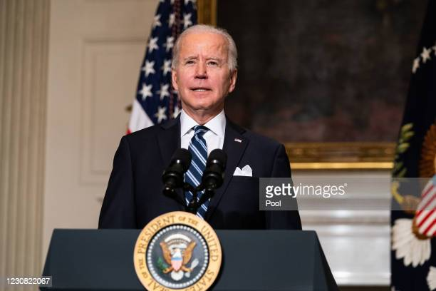 President Joe Biden speaks about climate change issues in the State Dining Room of the White House on January 27, 2021 in Washington, DC. President...