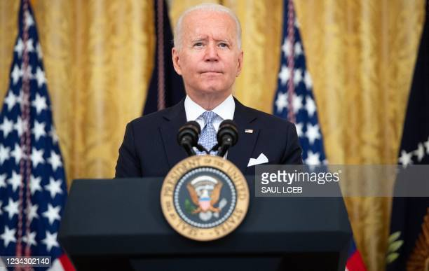 President Joe Biden speaks about Covid vaccinations in the East Room of the White House in Washington, DC, July 29, 2021.