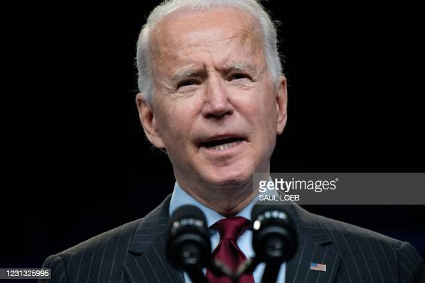President Joe Biden speaks about the American Rescue Plan and the Paycheck Protection Program for small businesses in response to coronavirus, in the...