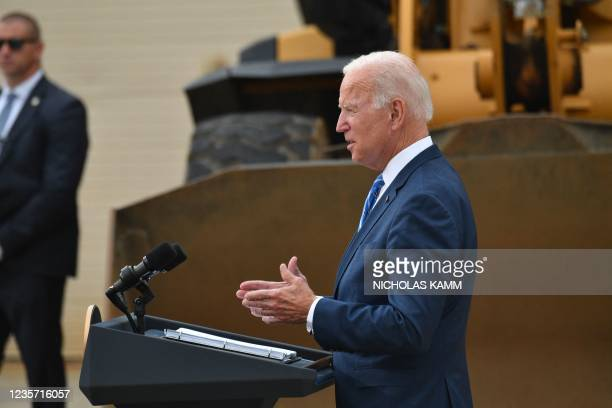 President Joe Biden speaks about the bipartisan infrastructure bill and his Build Back Better agenda at the International Union of Operating...