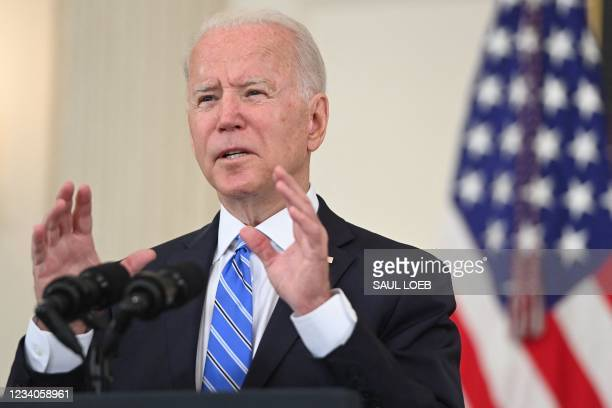 President Joe Biden speaks about the economy during the Covid-19 pandemic in the State Dining Room of the White House in Washington, DC, July 19,...