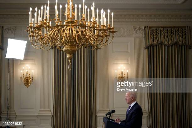 President Joe Biden speaks about the March jobs report in the State Dining Room of the White House on April 2, 2021 in Washington, DC. According to...