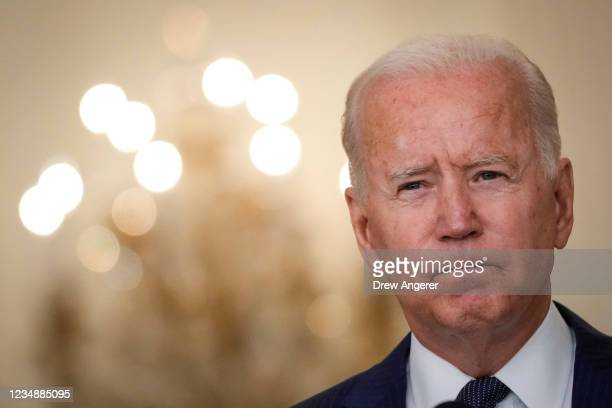 President Joe Biden speaks about the situation in Afghanistan in the East Room of the White House on August 26, 2021 in Washington, DC. At least 12...