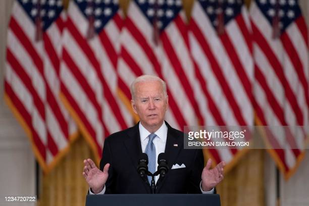 President Joe Biden speaks about the Taliban's takeover of Afghanistan from the East Room of the White House August 16 in Washington, DC. - President...