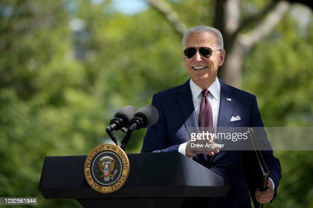 President Joe Biden speaks about updated CDC mask guidance on the North Lawn of the White House on April 27, 2021 in Washington, DC. President Biden...