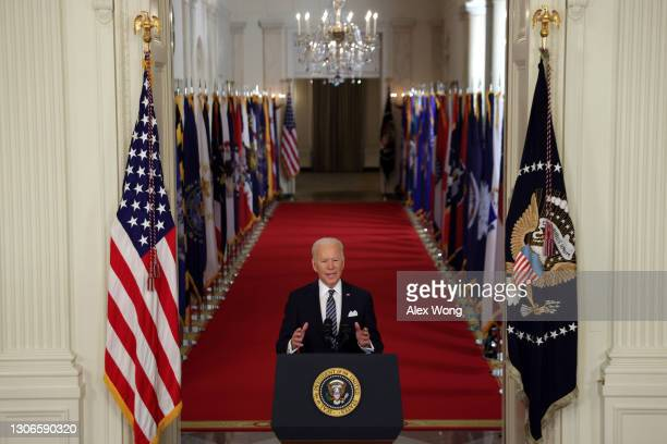 President Joe Biden speaks as he gives a primetime address to the nation from the East Room of the White House March 11, 2021 in Washington, DC....