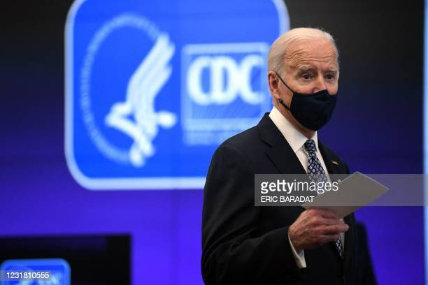 President Joe Biden speaks as he tours the Centers for Disease Control and Prevention in Atlanta, Georgia, on March 19, 2021.
