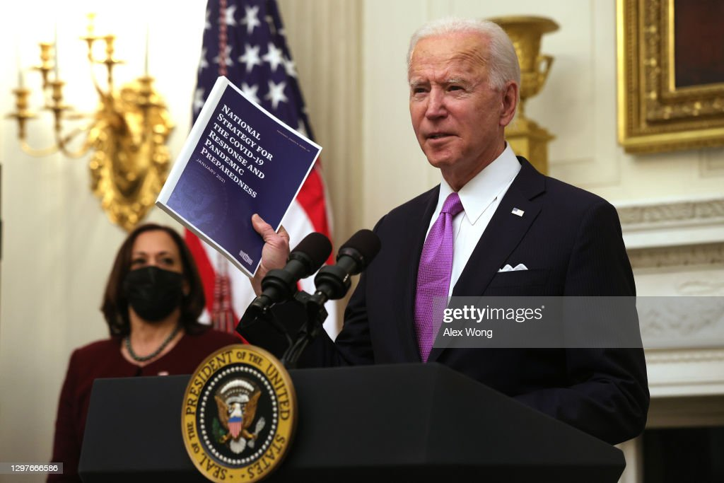 President Joe Biden Discusses His Administration's Covid Response Plan And Signs Executive Orders : News Photo