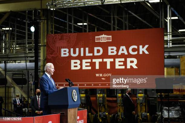 President Joe Biden speaks at the NJ Transit Meadowlands Maintenance Complex in Kearny, New Jersey, U.S., on Monday, Oct. 25, 2021. Bidenwill argue...