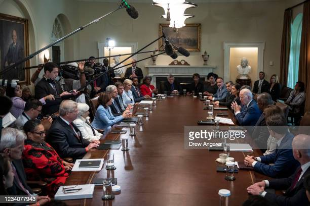 President Joe Biden speaks at the start of a Cabinet meeting in the Cabinet Room of the White House on July 20, 2021 in Washington, DC. Six months...
