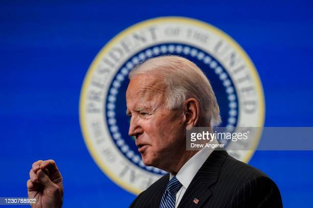 President Joe Biden speaks before signing an executive order related to American manufacturing in the South Court Auditorium of the White House...