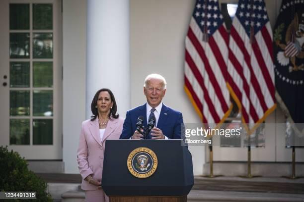 President Joe Biden speaks before signing H.R. 3325 during a ceremony in the Rose Garden of the White House in Washington, D.C., U.S., on Thursday,...