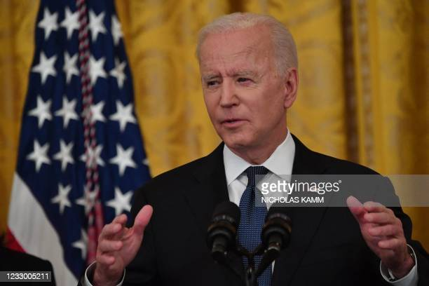 President Joe Biden speaks before signing the Covid-19 Hate Crimes Act, in the East Room of the White House in Washington, DC on May 20, 2021.