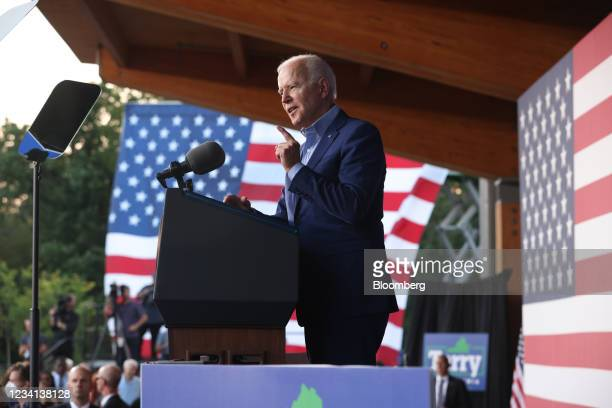 President Joe Biden speaks during a campaign event for Terry McAuliffe, Democratic gubernatorial candidate for Virginia, in Arlington, Virginia,...