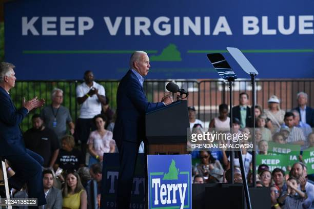 President Joe Biden speaks during a campaign event for Virginia gubernatorial candidate Terry McAuliffe at Lubber Run Park, Arlington, Virginia on...