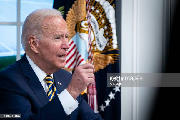 President Joe Biden speaks during a conference call on climate change with the Major Economies Forum on Energy and Climate in the South Court...
