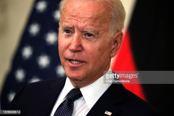 President Joe Biden speaks during a joint news conference with German Chancellor Angela Merkel in the East Room of the White House on July 15, 2021...