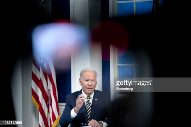 President Joe Biden speaks during a Major Economies Forum on Energy and Climate in the Eisenhower Executive Office Building in Washington, D.C.,...