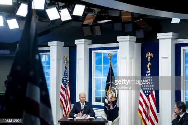President Joe Biden speaks during a Major Economies Forum on Energy and Climate with Antony Blinken, U.S. Secretary of state, in the Eisenhower...