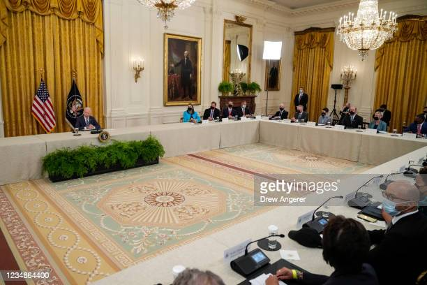 President Joe Biden speaks during a meeting about cybersecurity in the East Room of the White House on August 25, 2021 in Washington, DC. Members of...