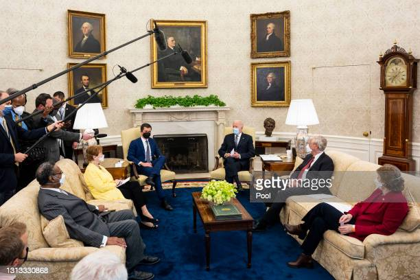 President Joe Biden speaks during a meeting with a bipartisan group of members of Congress to discuss investments in the American Jobs Plan,...