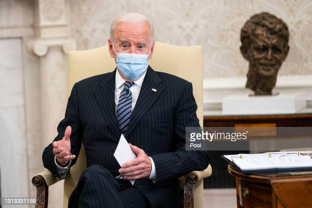 President Joe Biden speaks during a meeting with a bipartisan group of members of Congress to discuss investments in the American Jobs Plan in the...