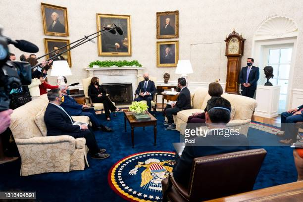 President Joe Biden speaks during a meeting with the leadership of the Congressional Hispanic Caucus, Sen. Ben Ray Lujan , Sen. Robert Menendez ,...