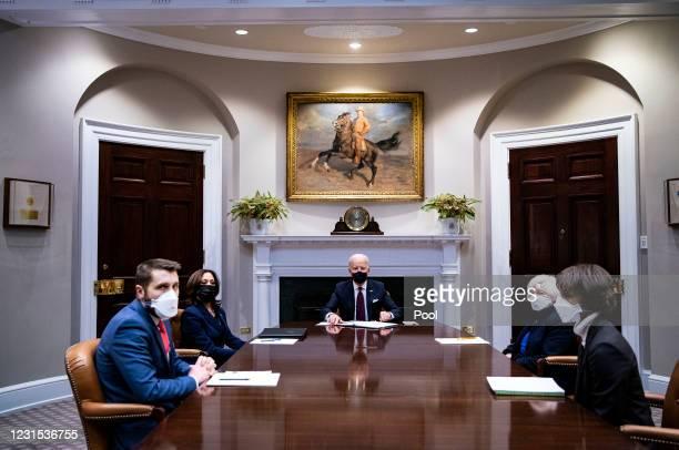 President Joe Biden speaks during a meeting with Treasury Secretary Janet Yellen and Vice President Kamala Harris in the Roosevelt Room of the White...