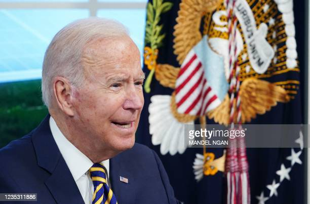 President Joe Biden speaks during a virtual meeting with the Major Economies Forum on Energy and Climate to galvanize efforts to confront the global...