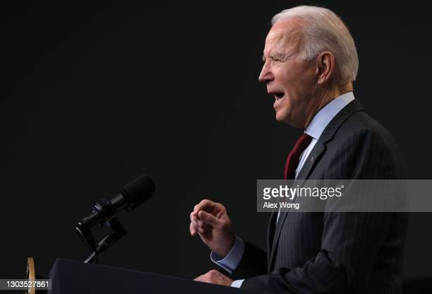 President Joe Biden speaks during an announcement related to small businesses at the South Court Auditorium of the Eisenhower Executive Office...