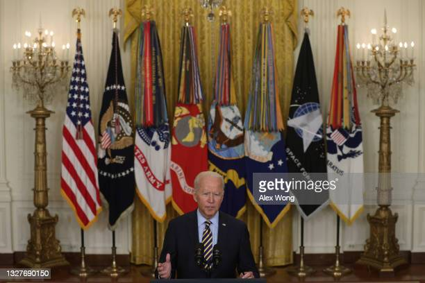 President Joe Biden speaks during an East Room event on troop withdrawal from Afghanistan at the White House July 8, 2021 in Washington, DC....